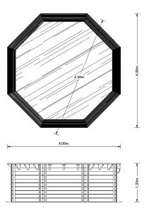 Interline houten zwembad plattegrond 4.40
