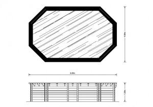 Interline houten zwembad plattegrond 6.40 x 4.00