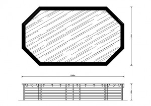 Interline houten zwembad plattegrond 8.40 x 4.90